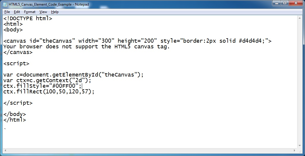 HTML5 Canvas Element Code Example