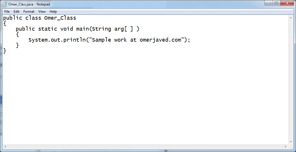Java Program in NotePad