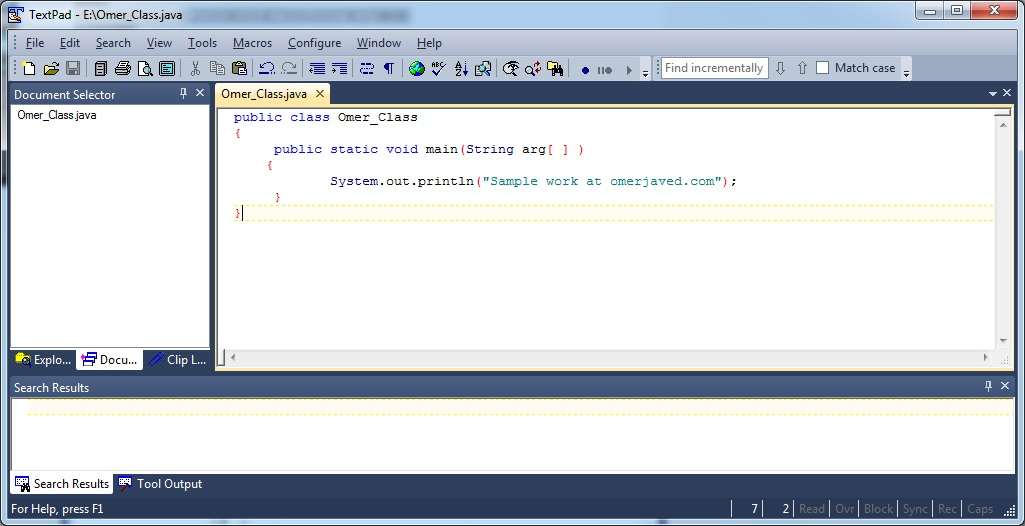 Java Program in TextPad